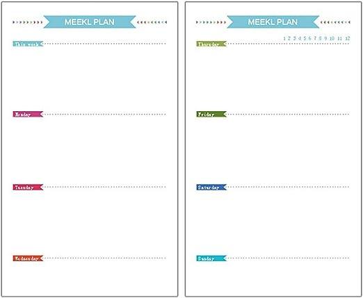 TOYMYTOY Fogli ricarica ricambio per blocchi ad anelli A5 per planner settimanale e mensile diario