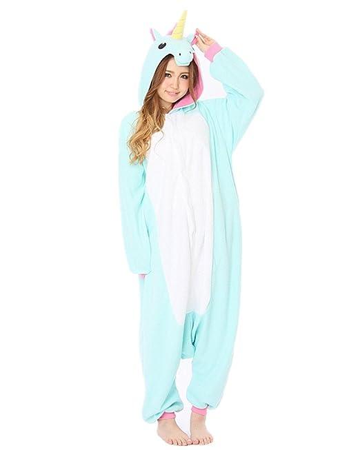 Samgu Animal Cosplay Unisex Adulte Kigurumi Pijamas Pajama Costume Sleepwear Unicornio Azul