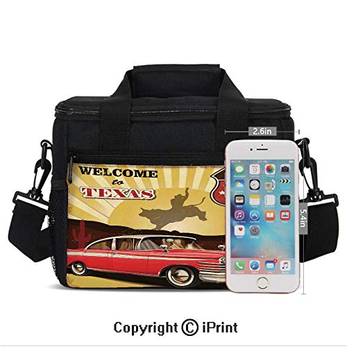 (Welcome to Texas Signboard Poster with Cadillac Art Car Cowboys Town Rodeo Decor Print Lunch Bag Portable Insulated Lunch Boxes with Zipper and Pocket,Multi)