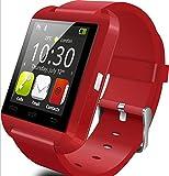 Yuntab 多機能腕時計 スマート ウォッチ 着信お知らせ/置き忘れ防止/歩数計/ストップウォッチ/高度計/睡眠質トラックスマート ウォッチ 1.44インチ 超薄型フルタッチ ウォッチ U8 smart watch Bluetooth RED