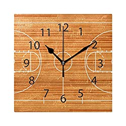 Wall Clock,Square 8x8 Inches Silent Basketball Court Floor with Line On Wooden Decorative for Home Office Kitchen Bedroom