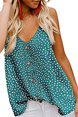jonivey Women's Summer Sleeveless Flowy Chiffon Blouse Loose Layered Tunic Tank Tops (Dot Green,XXL) ()
