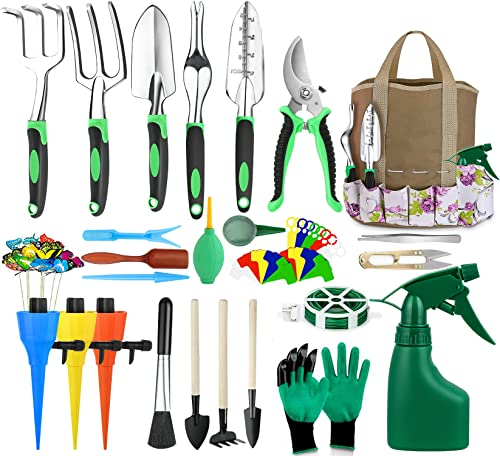 Set herramientas p/ jardinería(63piezas) c/bolsa organiz.