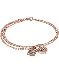 Michael Kors Womens Love is in The Air Pave Lock and Heart Double Strand Bracelet