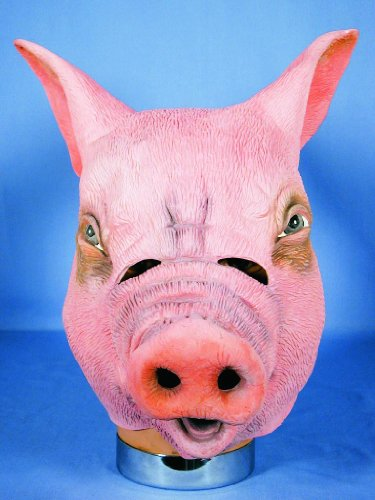 HMS Pig Realistic Animal Mask, Pink, One Size