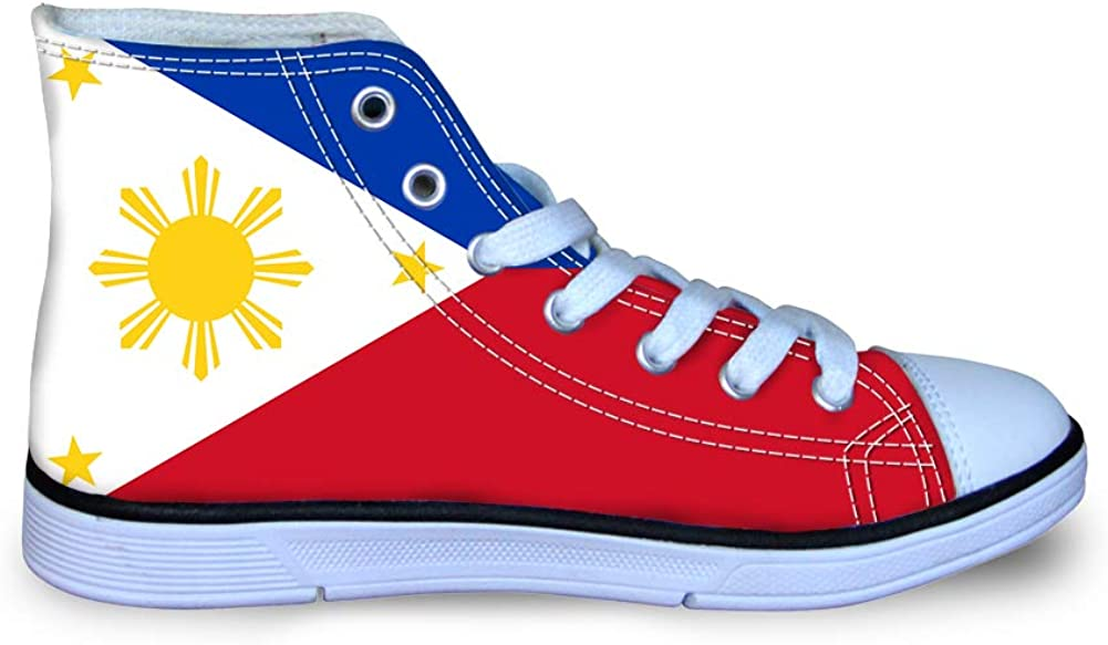 Canvas High Top Sneaker Casual Skate Shoe Boys Girls Philippines Flag