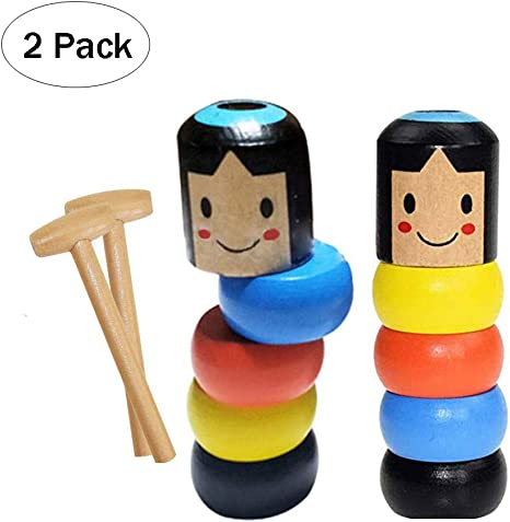 Joostee 2 Pack New Unbreakable Wooden Man Magic Toy,Wood Man Magic Tricks Props Funny Toy Children Kids Gifts for Christmas Birthday
