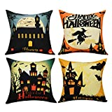 BLEUM CADE Halloween Theme Pillow Covers Happy Halloween Castle and Pumpkin Throw Pillow Case Daily Decorations Sofa Throw Pillow Case Cushion Covers Zippered Pillowcase