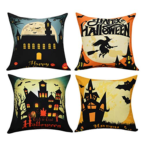 BLEUM CADE Halloween Theme Pillow Covers Happy Halloween Castle and Pumpkin Throw Pillow Case Daily Decorations Sofa Throw Pillow Case Cushion Covers Zippered Pillowcase -