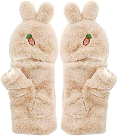 Girls Winter Gloves with Convertible Flip Top Mittens Cover Cute Reindeer Plush Fingerless Gloves for Kids Teens