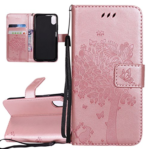Case For Iphone X, X Case Cover For Iphone, Butterfly Flower Multicolor Portfolio Isaken Pattern Flip Leather Cover Pu Leather Wallet Case Cover Standing Housing Cover With Portable Strap Slot Tar Cat Tree Ororosa