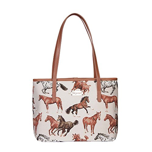 Running Horse Tan Shoulder Tote Bag by Signare/Womens Branded Stylish Tapestry Side College/COLL-RHOR