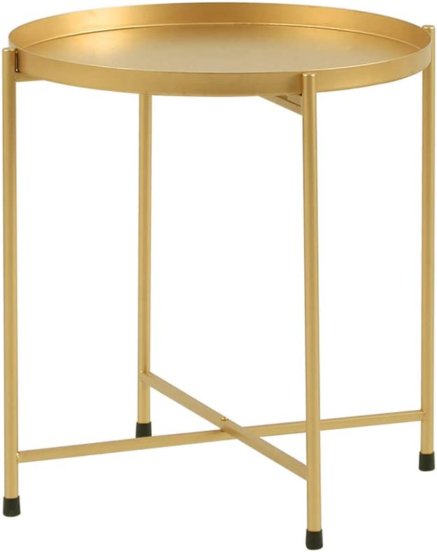 """Side Table Tray Metal End Table Round Foldable Accent Coffee Table for Living Room Bedroom(15.7""""×18.1"""",Gold)"""