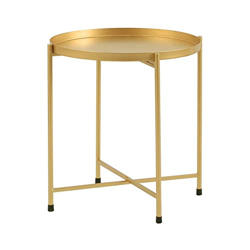 Side Table Tray Metal End Table Round Foldable Accent Coffee Table for Living Room Bedroom 15.7 18.1 ,Gold