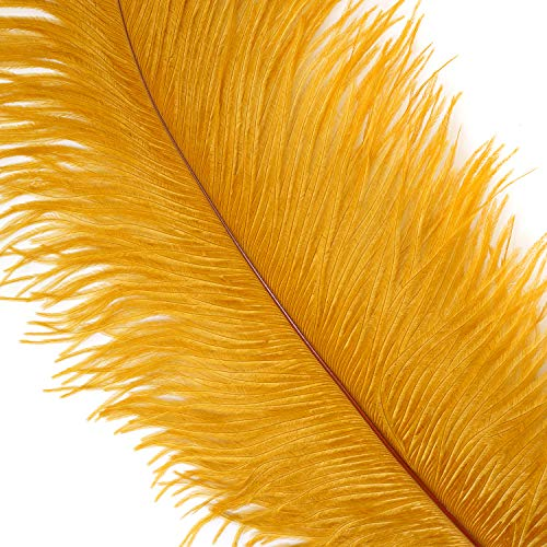 Zucker Ostrich Feathers for Centerpieces- Wedding Decorations- Feathers for Crafts, 12 Pieces, 13-16 inch, Marigold Yellow ()