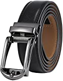 Marino Men's Genuine Leather Ratchet Dress Belt with Open Linxx Buckle, Enclosed in an Elegant Gift Box - Gunblack Silver Open Buckle W/Black Design Leather - Custom: Up to 44'' Waist