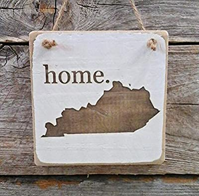 Kentucky Home Hanger - Wood Ornament - Kentucky Decor (small keepsake 4 inches by 4 inches)