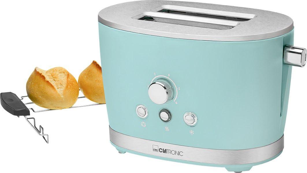 Clatronic TA 3690 - Tostadora de pan Rock&Retro, 2 ranuras, 3 funciones (tostar, calentar y descongelar), 850 W, color Verde Menta: Amazon.es: Hogar