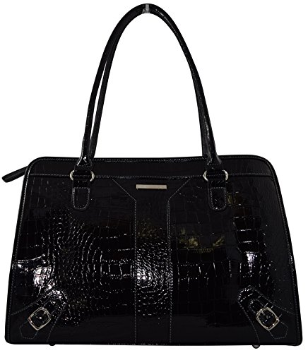 """Ultimate Work Tote, Faux Shinny Croco Business Women's Laptop Tote With Padded 15"""" Computer Compartment - Black"""