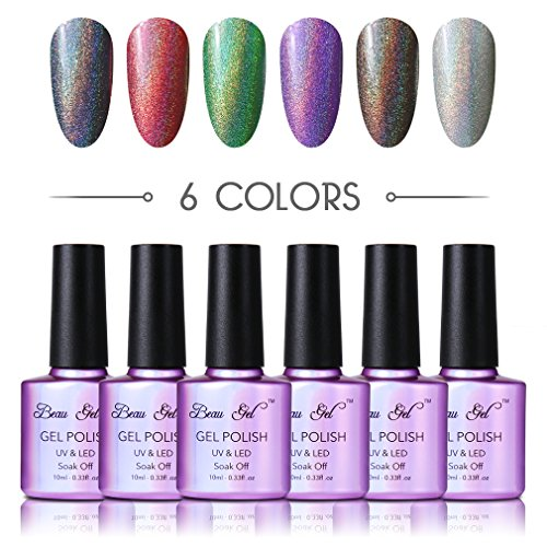 Beau Gel Soak off Nail Polish, Holographic Rainbow Colors Ma