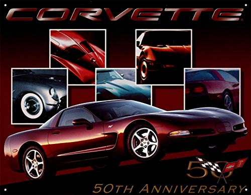 MMNGT Chevy Corvette 50th Anniversary Tin Sign TIN Sign 7.8X11.8 INCH