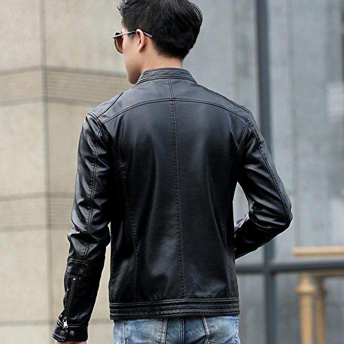 DUUMY cuir d'hiver collier en cuir Slim veste en cuir pour hommes , black , L