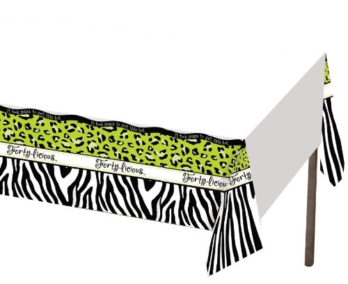 Creative Converting Forty-Licious Plastic Banquet Table Cover, 54 by 108-Inch
