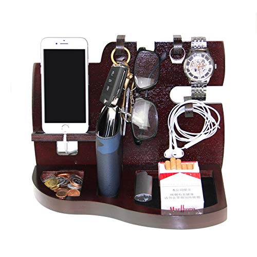 - VrankyMen's Gift-Wooden Phone Docking Station with Key Holder, Wallet and Watch Organizer-Red