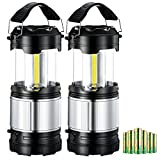 [Upgraded Version] Camping Light, TOPELEK Portable 2-in-1 Collapsible LED Lantern with 6 AA Batteries, 300lm COB LED, Perfect Camp Lantern Flashlight Function for Camping, Outdoors, Emergency, Power Outage (Black, 2Pack)