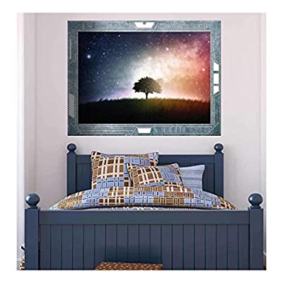 Premium Product, Majestic Artisanship, Science Fiction ViewPort Decal View of a Lone Tree Surrounded by a Beautiful Galaxy Wall Mural