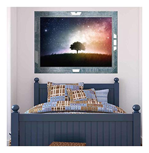 Science Fiction ViewPort Decal View of a Lone Tree Surrounded by a Beautiful Galaxy Wall Mural