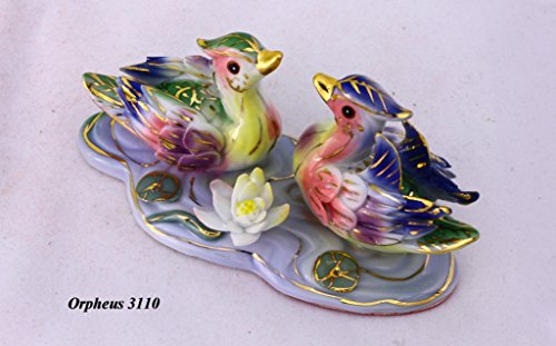 Feng Shui Mandarin Ducks - Hand Crafted and Decorated Chinese Porcelain, Figurine D05010 (Multi)