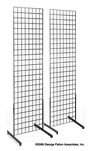 "Standing Wire - 2' x 6' Black Floor Standing Wire Grid Fixtures Complete with ""T"" Style Bases Come in Set of (2)"