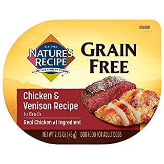 Nature's Recipe Grain Free Wet Dog Food, Chicken & Venison in Broth Recipe, 2.75 Ounce Cup (Pack of 12), Easy to Digest (Packaging May Vary)