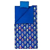 Wildkin Original Sleeping Bag, Features Matching Travel Pillow and Coordinating Storage Bag, Perfect for Sleeping On-The-Go, Olive Kids Design - Robots
