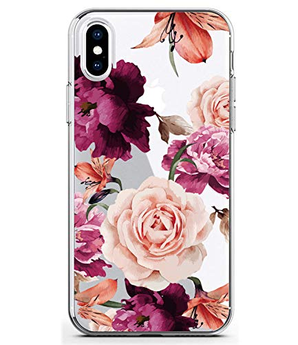 BAISRKE Slim Shockproof Clear Floral Pattern Soft Flexible TPU Back Cover Phone Case for iPhone Xs Max 2018 6.5 inch [Purple Pink]