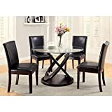 Furniture of America Ollivander 5-Piece Glass Top Dining Table Set - Dark Walnut