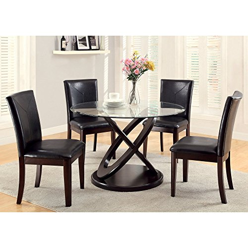Furniture of America Ollivander 5-Piece Glass Top Dining Table Set - Dark Walnut (Round Dining Table Set For 8)