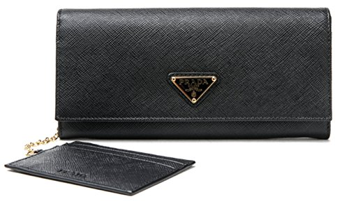 Wiberlux Prada Women's Gold Triangle Logo Detail Flap Real Leather Long Wallet One Size Black (Prada Long Wallet)