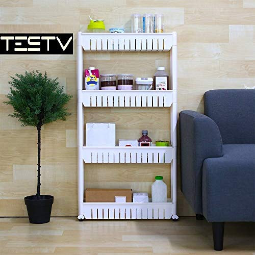 TESTV Gap Storage Slim Slide Out Tower Rack Shelf with Wheels for Laundry, Bathroom & Kitchen 3-tier and 4-tier (4-tier)
