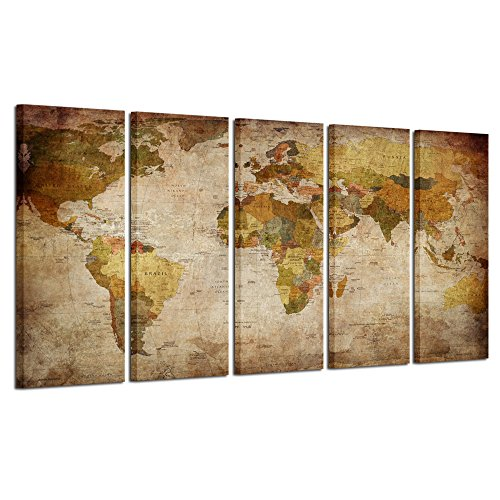 Kreative Arts - Xlarge Map of the World Stretched and Framed