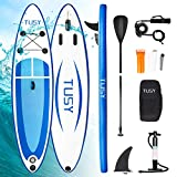 TUSY Inflatable SUP Stand Up Paddle Board 10' x 30' x 6' with Accessories Kit Carry Bag, Non-Slip Deck, Paddles and Pump, Youth & Adult Paddleboards