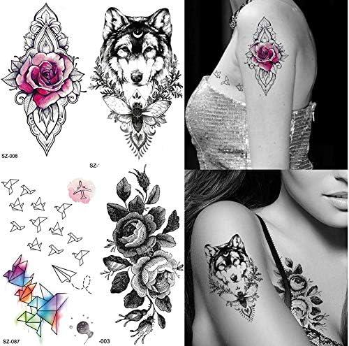 yyyDL tatuajes temporales Negro mujeres brazo moda tatuaje ...