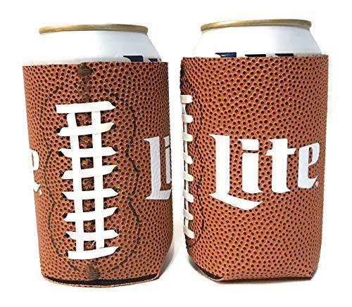 - Miller Lite Football Design Beer Can Cooler Insulator - 2 Pack