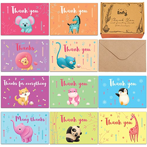 Safari Baby Shower Thank You Cards - 60 Kids Birthday Colorful Tropical Jungle Animals Thank U Notes - Elephant, Panda, Puppy, Giraffe, Cat, Lion, Hippo - Girl or Boy - Kraft Envelopes and BONUS Box
