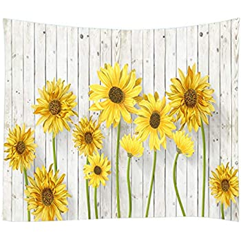 Wooden Board Sunflower Print Decorative Throw Fabric Wall Tapestry Hanging Art Decor for Living Room and Bedroom Hanging 79 x 59 Inches