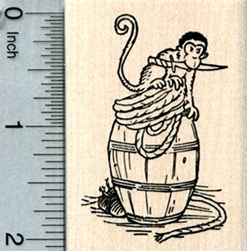RubberHedgehog Pirate Monkey Rubber Stamp, with Cutlass o...