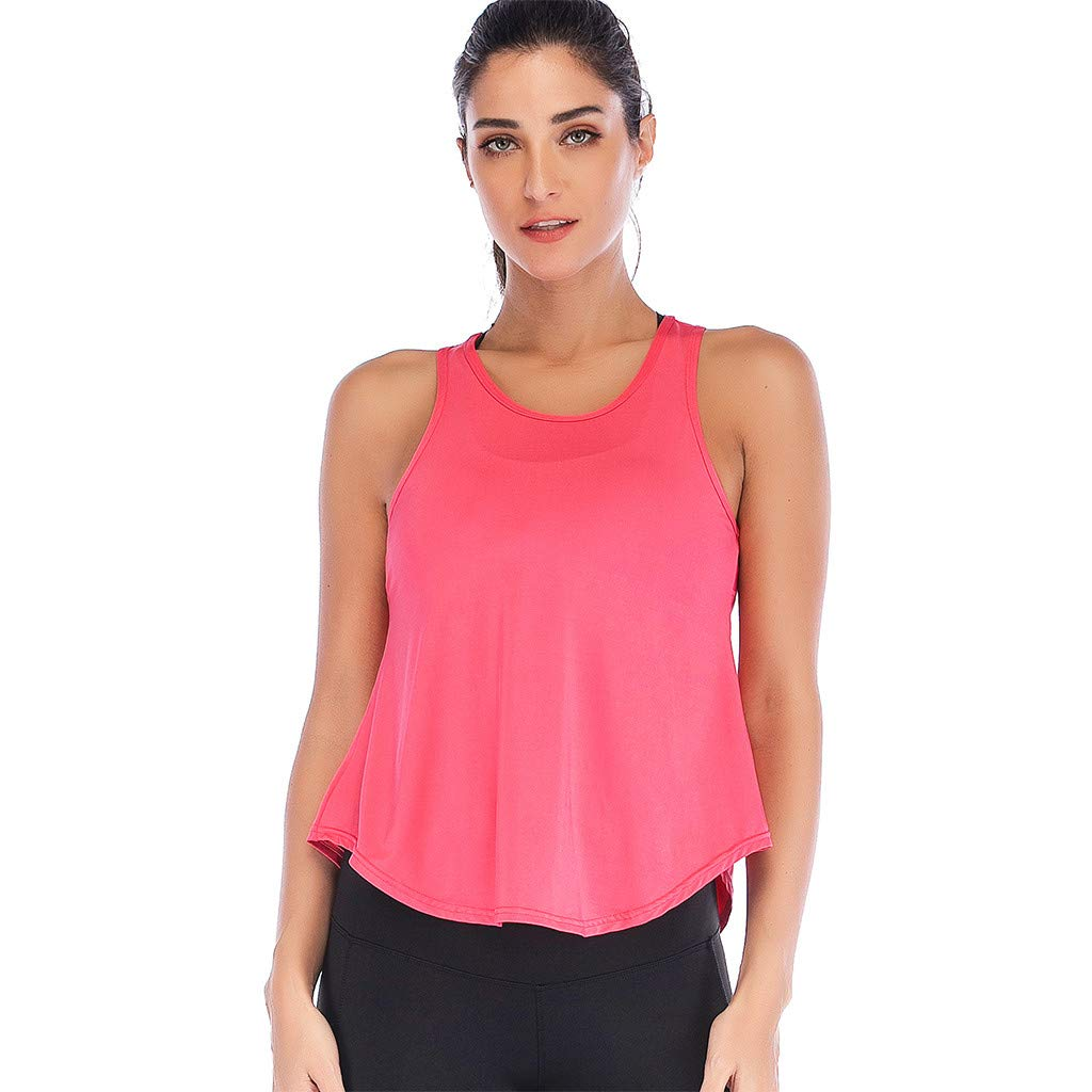 Mlide Womens Womens Summer Solid Color Shirts Sleeveless Casual Racerback Workout Tank Tops Watermelon Red