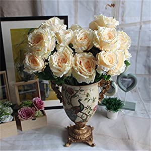 XGM GOU 5-12 Heads/Bouquet Peony Flower Bouquet Palace Emperor Rose Silk Flower Rose Bouquet Wedding Decoration Silk Artificial Flower 7