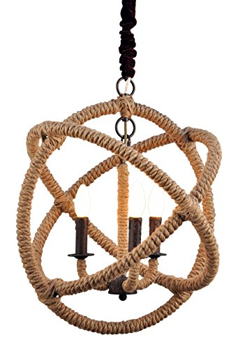 Moti Furniture Iron and Jute Globe Pendant by MOTI Furniture